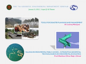 The 7th GE Department Seminar, 21Jan2013: Tools for Disaster Planning and Management / Valuing Environmental Public Goods